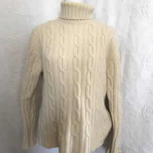 BR Ivory Cashmere Cable Knit Turtleneck Sweater